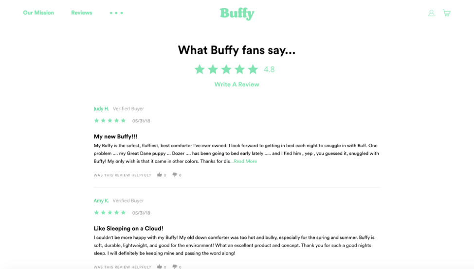 The Buffy Site Puts Reviews On Full Display Integrating Them Seamlessly Into Websites Design These Encourage Engagement And Trust Between
